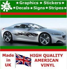 "10"" High Car Side Stripes Graphic Decal Vinyl Sticker Van Auto Rally Race F1_102"