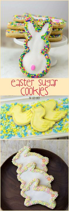 Easter Sugar Cookies sure were a hit in out household. No special tools or equipment required for these cookies.Adorable Easter Sugar Cookies sure were a hit in out household. No special tools or equipment required for these cookies. Mini Desserts, Holiday Desserts, Holiday Baking, Holiday Treats, Spring Desserts, Easter Dinner, Easter Brunch, Easter Party, Easter Cookies