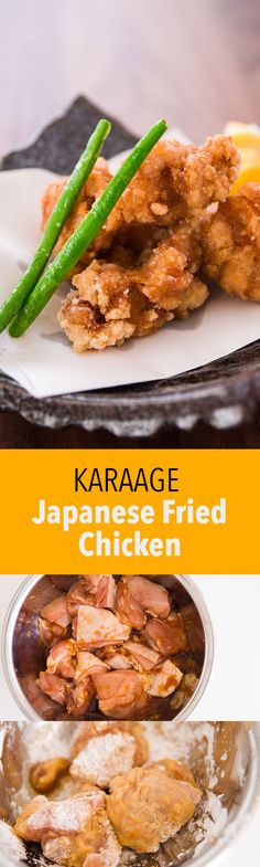 Karaage, the Japanese version of fried chicken is first marinated in ginger, garlic and soy sauce, and then coated in potato starch before being fried. The result is an ultra crispy shell encasing a flavorful bite of juicy chicken inside.