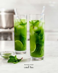 Matcha mint ice tea