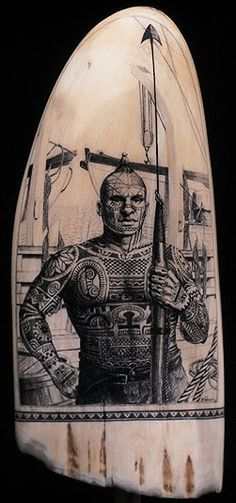 Scrimshaw portrait of Queequeg by Robert Weiss, using authentic Marquesan tattoo designs.