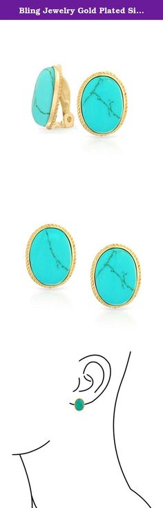 Bling Jewelry Gold Plated Silver Simulated Turquoise Clip On Earrings Alloy Clip. Blue Reconstituted Turquoise jewelry always seems to be in style and has a classic appeal for women of all ages. A new pair of clip on earrings is a perfect choice to take you from a day at the office to a night out on the town. Measuring approximately 15mm in length, our beautifully colored oval shaped blue Reconstituted Turquoise stone has a stunning look. It is set bezel style with a clip on Clip that is...