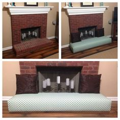 Baby proof fireplace by turning into a couch. and put glass in the fireplace so they can't burn themselves!
