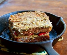 A recipe for a decadent yet healthy vegan Stuffed French Toast, including a gluten-free option. The toast is stuffed with strawberries and bananas.