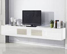 White Glacia Floating TV Unit - NOT IKEA - BUT FOR MUMS TV ROOM