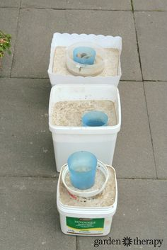How to Make Concrete Garden Planters with recycling plastic containers.