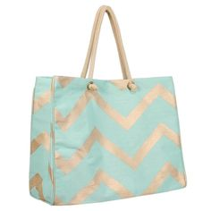 Gold and Mint Glamour Chevron Juco Bag
