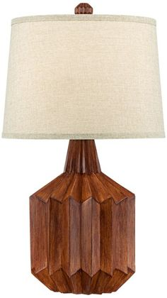 Manitoga Wood with Linen Shade Cog 30-Inch-H Table Lamp - #EU2V065 - Euro Style Lighting