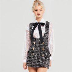 tweed two-line buttons decoration suspender dress – Lupsona Source by victoriafashionlove women dress Fashion Mode, Look Fashion, Couture Fashion, Korean Fashion, Fashion Beauty, Fashion Outfits, Womens Fashion, Fashion Tips, Fashion Design