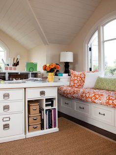 good use of a room with a weird shape.  Pinterest has shown me you can make any room pretty.
