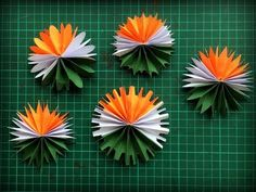 This video shows How to make Tricolor Republic day and Independence day Paper Flowers. Learn to make this very beautiful paper flowers and d. Independence Day Activities, 15 August Independence Day, Independence Day Decoration, Indian Independence Day, Paper Animal Crafts, Paper Animals, Paper Crafts, Summer Diy, Summer Crafts