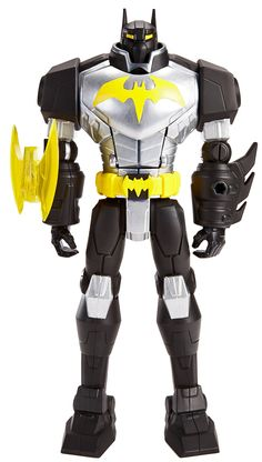 """Batman Mechs vs Mutants Batmech Figure, 12"""". Deluxe 12"""" figures of Batman, Green Arrow and Bane from the new Batman Unlimited: Mechs vs Mutants animation. Each has iconic details, tech-loaded suits and 9 points of articulation. Batman and Green Arrow include a battle accessory and chest cavities that hold a 2"""" Mighty Mini figure. You can collect all the new deluxe 12"""" Mechs vs Mutants figures for epic battle excitement!. Each 12"""" and Mighty Mini figure sold separately, subject to…"""