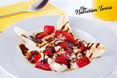 Grilled Banana Split | Scrumptious, healthy and a fraction of the calories of your typical banana split! | For MORE RECIPES please SIGN UP for our FREE NEWSLETTER NutritionTwins.com