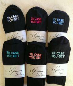 Groom Socks for the best wedding gift idea IN CASE YOU GET COLD FEET socks embroidered dress socks