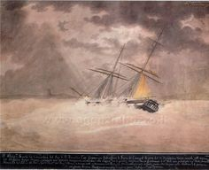 """Ex Voto - CAMMILLIERI Nicolas. Brigantino """"Concordia"""" sorpreso da un fortunale di vento - 1837"""