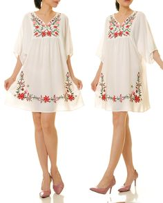 Mexican Embroidered Dress | White Embroidery Dress | Mexican Dress | Floral Embroidered  Dress | Oaxaca