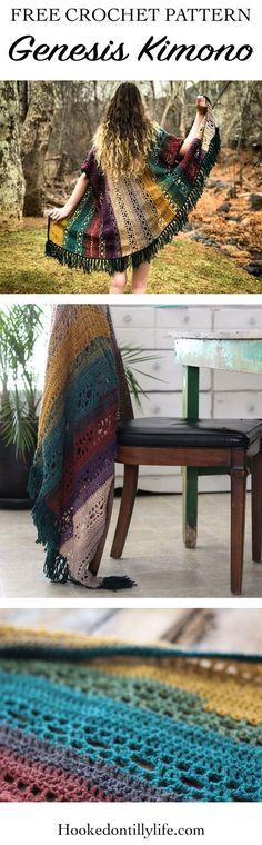 free crochet pattern, genesis kimono, DIY, easy summer crochet, colorful, easy to follow, rustic design, lightweight, fringe, boho, bohemian, boho crochet