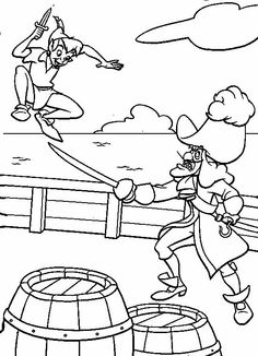 Captain Hook Telescoped Peter Pan Coloring Pages Pinterest