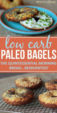 Carb Paleo Bagels Love bagels but not the carbs and gluten? Our quick and delicious Paleo bagels are perfect for spreading with cream cheese or topping with wild salmon lox.Love bagels but not the carbs and gluten? Our quick and delicious Paleo bagels are Low Carb Recipes, Real Food Recipes, Diet Recipes, Cooking Recipes, Healthy Recipes, Paleo Bread Recipe Low Carb, Healthy Foods, Quick Paleo Meals, Healthy Bagel