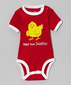 Look at this Red 'Made From Scratch' Bodysuit - Infant on #zulily today!