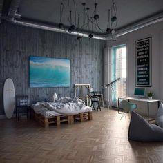 bakstenen behang in een industriele slaapkamer | roomit.nl, Deco ideeën