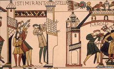 """Halley's Comet on the Bayeux Tapestry. It was seen by some as an ill omen for King Harold of England, who was then defeated by French invaders. ©Mona Evans """"Halley's Comet"""" http://www.bellaonline.com/articles/art44795.asp"""
