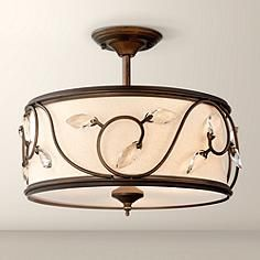 """Vienne French Scroll 16"""" Wide Bronze Ceiling Light - too big for foyer????"""