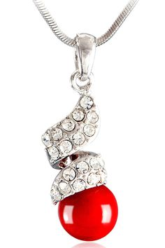 South Sea Red Pearl And Crystals Drop Necklace