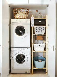 Small Laundry Closet, Laundry Closet Organization, Small Closets, Laundry Room Remodel, Laundry Room Bathroom, Laundry Room Design, Basement Laundry, Kitchen Remodel, Laundry Chute