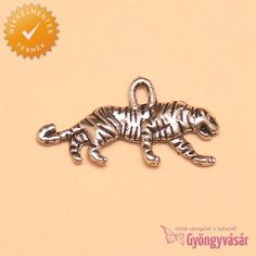 Ezüstszínű tigris - nikkelmentes fém zsuzsu / fityegő • Gyöngyvásár.hu
