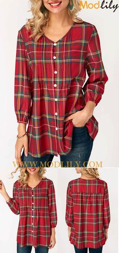 V Neck Plaid Print Button Up Blouse On Sale. Shop this plaid blouse. Fashion and simple. And free shipping. Action now!