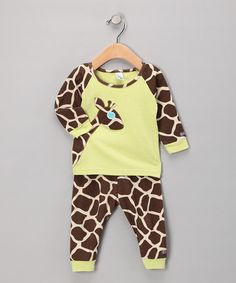 I'm in love with the pants if nothing else. haha Take a look at this Brown Giraffe Pajama Set - Toddler by Sozo on #zulily today!