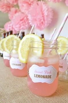 Lemonades in Mason Jars by Bloom Events BSM. Pink and Yellow Wedding Ideas » KnotsVilla