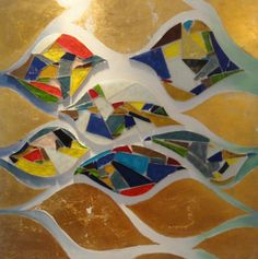 """Sinuous flow"", cm 60x60, painting, (acrilyc, glass and golden foil), 2010."