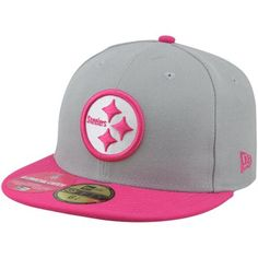 New Era Pittsburgh Steelers Breast Cancer Awareness On-Field Player 59FIFTY Fitted Hat - Gray/Pink