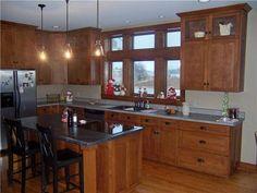 Quarter Sawn Oak Cabinets Kitchen | Quartersawn white oak cabinets - Flat panel doors, drawer fronts, and ...