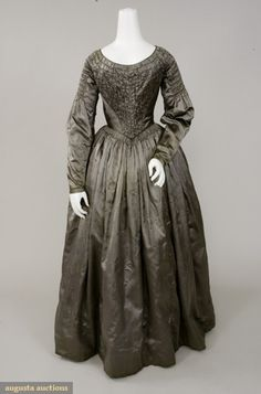 Pewter Grey Silk Satin Dress, 1840s, Augusta Auctions, November, 2007 -Tasha…