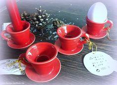 4 KERZENHALTER Tassen Eierbecher Porzellan  ROT - Ohne Kerzen WEIHNACHTEN SANTA