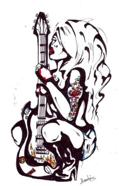This is not exactly a well drawn tattoo but there is certainly a sexual appeal that the combination of a woman and a guitar makes that I can get into