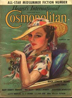 """Cosmopolitan magazine, AUGUST 1936  Artist: """"Vacation Days"""" Bradshaw Crandell"""