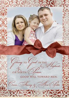 Glory to God Christian Christmas Photo Card - Any colors and patterns on this custom design let you share a photo flexibly for your own 2015 sentiments!