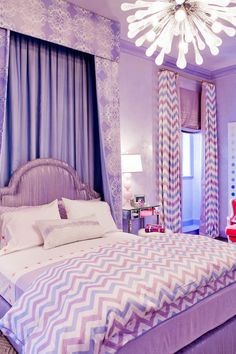 Robyn Karp Interiors - girl's rooms - purple bedroom, purple walls, purple wall color, lilac walls, lilac wall color, floor length drapes, f...
