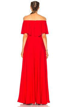Valentino Off Shoulder Gown in Red   FWRD