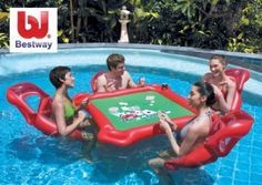 NEW INFLATABLE POKER TABLE + 4 x CHAIRS POOL TOYS LILO | eBay