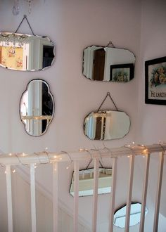 This mirror collection Jane of Posy have inspired me since I first saw a post about in January of Unfortunately, I didn't begin to be able to my own collection of beveled mirror yet, but I remember pinning this here to remind me! Mirror Stairs, Hall Mirrors, Mirror Mirror, Wall Of Mirrors, Staircase Shelves, Mirror House, French Mirror, Sunburst Mirror, Beveled Edge Mirror