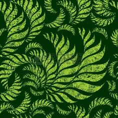 Illustration of Seamless green floral pattern with twirled grunge fern leafs (From my big vector art, clipart and stock vectors. Free Vector Images, Vector Art, Grunge, Floral Pattern Vector, Decoupage Paper, Ferns, Birds In Flight, Print Patterns, Plant Leaves