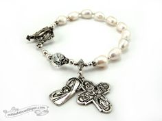 Immaculate Conception Bracelet Rosary by Ooh-la-la Beadtique $22.00 #rosary #rosaries #gift #confirmation #prayer #devotional #gifts #bracelet #white #catholic #christian #Jesus #Christ