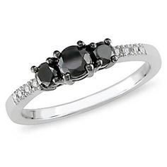 1/2 CT. T.W. Enhanced Black Diamond Three Stone Ring in 10K White Gold with Diamond Accents