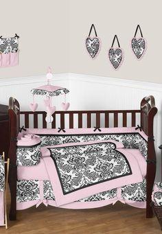 Pink and Black Sophia Damask Baby Bedding and 9pc Nursery Crib Set