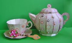Love, love, love this teapot set by Elke!  Think of all the different papers you can use just as she did!  TEA FOR YOU AND ME SVG KIT